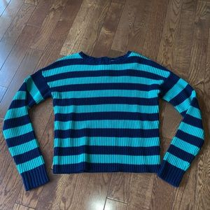 Vince Camuto Striped Green Blue Sweater